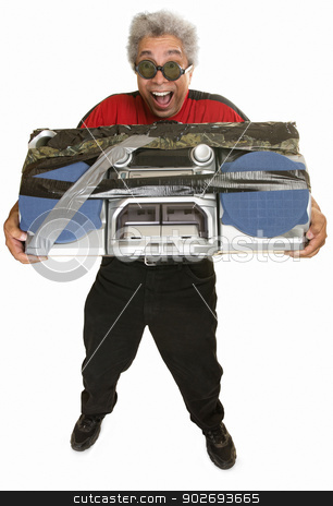 Giddy Man with Boom Box stock photo, Giddy middle aged man carrying taped boom box by Scott Griessel