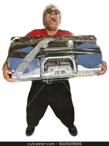 Hysterical Man with Boom Box stock photo, Hysterical man with sunglasses and taped boom box by Scott Griessel