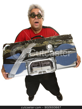 Exhausted Man with Tape Deck stock photo, Exhausted Hispanic man with heavy portable radio by Scott Griessel
