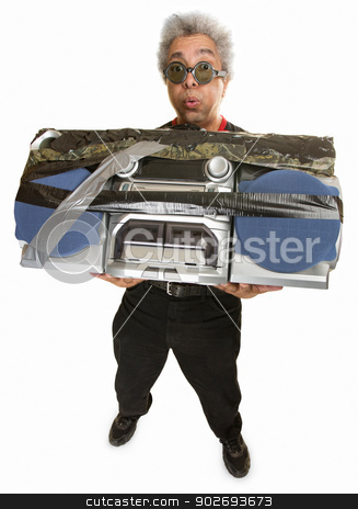 Overwhelmed Man with Radio stock photo, Man having difficulty carrying large 1980s portable radio by Scott Griessel