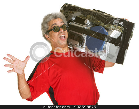 Singing Man with Boom Box stock photo, Excited singing mature man with boom box by Scott Griessel