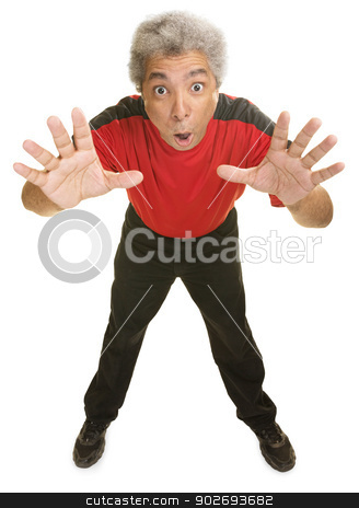 Man Reaching Out stock photo, Excited man leaning with hands reaching out by Scott Griessel