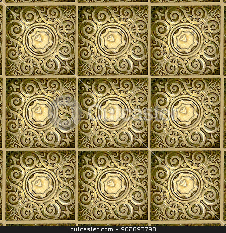 Decorative Swirls Ornament  stock photo, Swirls motif digital pattern artwork in yellow tones by Daniel
