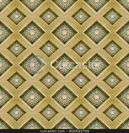 Decorative Swirls Ornament  stock photo, Diamond motif digital pattern artwork in yellow and orange tones by Daniel