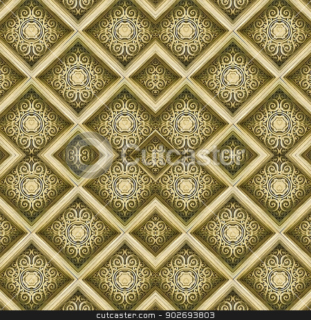 Decorative Swirls Ornament  stock photo, Swirls motif digital pattern artwork in yellow tones by Daniel