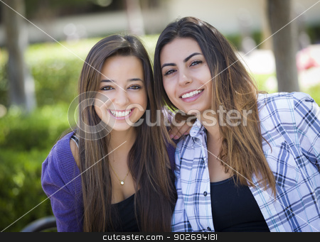Two Mixed Race Female Friends Portrait stock photo, Portrait of Two Attractive Mixed Race Female Friends Outdoors. by Andy Dean
