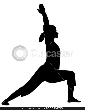 Asana Silhouette stock vector clipart, A yoga pose or asana in silhouette isolated over white. by Kotto