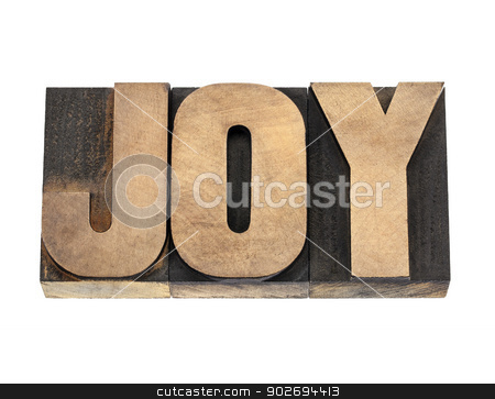 joy word in wood type stock photo, joy word  - isolated text in vintage letterpress wood type by Marek Uliasz