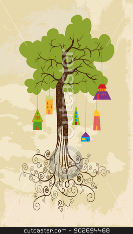 Sustainable development tree with hanging houses stock vector clipart, Sustainable development tree  over grunge background. This vector illustration is layered for easy manipulation and custom coloring by Cienpies Design