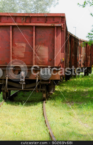 Old wagon, in an unused railway track stock photo, Old wagon, in an unused grassy railway track by Jozsef Demeter