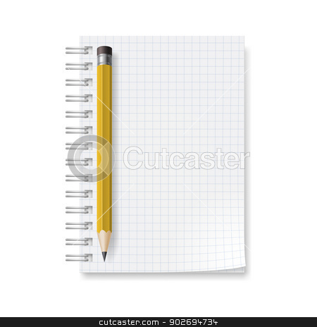 Notebook stock photo, Notebook with sheets in a cage. Illustration on white background for design by dvarg