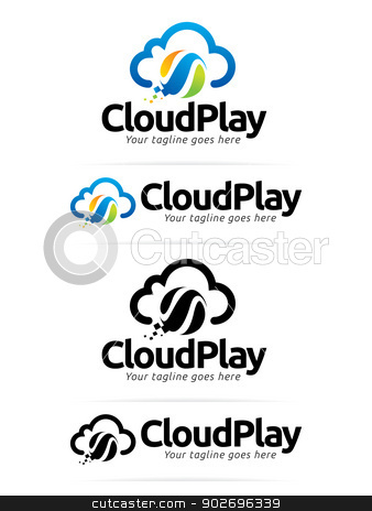 Cloud Play stock vector clipart, This logo perfectly use for any cloud related, entertainment and technology businesses. by Kit