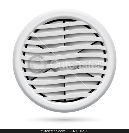 Electric fan stock photo, Electric plastic fan isolated on white background for design by dvarg