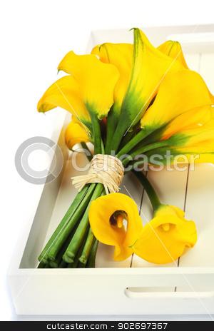 Beautiful calla lilies bouquet stock photo, Beautiful calla lilies bouquet on a tray by klenova