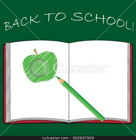 Back to school, school books with apple on desk, vector Eps10 illustration stock photo, Back to school, school books with apple on desk, vector Eps10 illustration by Maria Cherevan