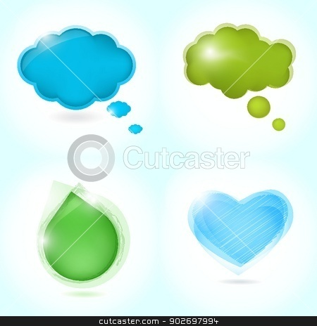 Colorful paper bubble for speech stock photo, Colorful paper bubble for speech by Maria Cherevan