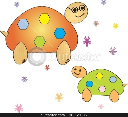 Cartoon turtle. Coloring book. Vector illustration. stock photo, Cartoon turtle. Coloring book. Vector illustration. by Maria Cherevan