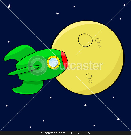 Rocket in the moon stock vector clipart, Cartoon illustration showing a rocket hitting the moon straight on by Bruno Marsiaj