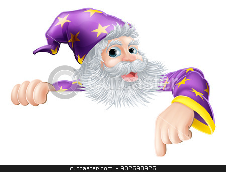 Wizard pointing down at sign stock vector clipart, An illustration of a wizard cartoon character peeping over sign and pointing by Christos Georghiou