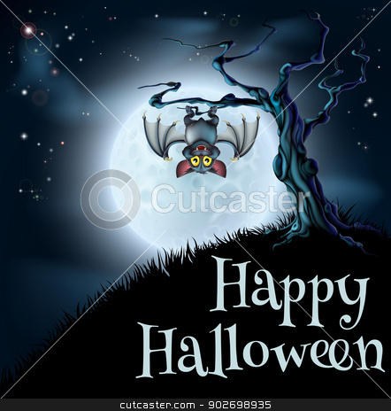 Blue Halloween Moon Bat Background stock vector clipart, A spooky scary blue Halloween background scene with vampire bat hanging from a spooky tree with a full moon in the background by Christos Georghiou