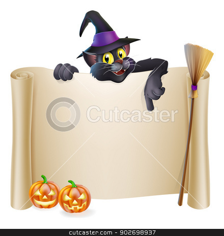 Halloween witch cat scroll stock vector clipart, A Halloween scroll sign with a cat character above the banner, pumpkins and witch's hat and broomstick by Christos Georghiou