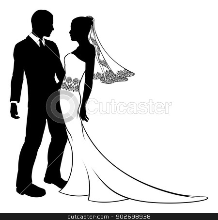 Silhouette of bride and groom wedding couple stock vector clipart, Bride and groom embracing at their wedding,  having first dance or about to kiss, with beautiful bridal dress with veil and lace pattern.  by Christos Georghiou