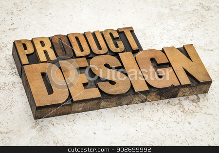 product  design in wood type stock photo, product design  text in vintage letterpress wood type on a ceramic tile background by Marek Uliasz