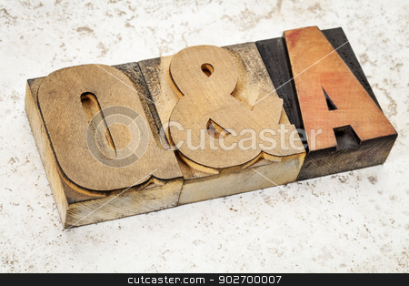 questions and answers in wood type stock photo, questions and answers i- Q&A acronym - text in vintage letterpress wood type on a ceramic tile background by Marek Uliasz