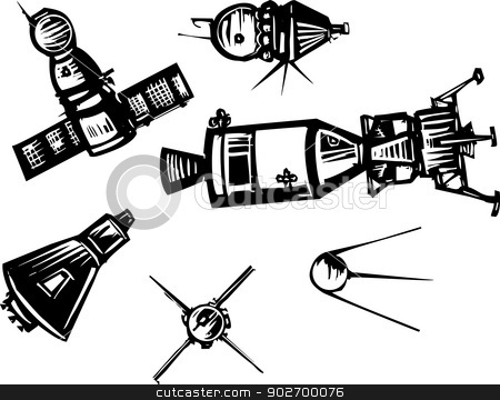 Historical Spaceships stock vector clipart, Woodcut style set of historical Soviet Russian and American NASA Spaceships. by Jeffrey Thompson
