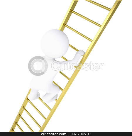 3d white man rises through golden stairs stock photo, 3d white man rises through golden stairs. Isolated render on a white background by cherezoff