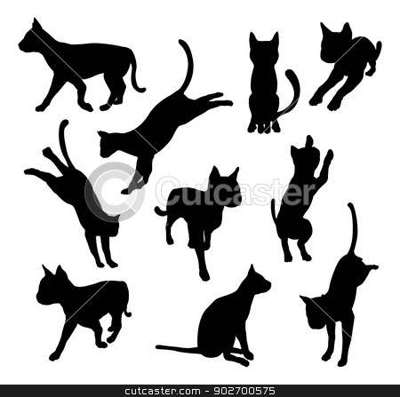 Pet cat silhouettes stock vector clipart, A set of pet cat silhouettes including the cat playing, jumping and walking by Christos Georghiou