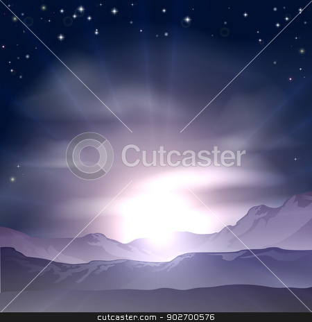 Sunrise or sunset concept stock vector clipart, A wondrous sunrise or sunset over a mountain range landscape by Christos Georghiou