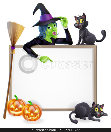 Witch Halloween Sign stock vector clipart, Halloween sign or banner with orange Halloween pumpkins and black witch's cats, witch's broom stick and cartoon witch character  by Christos Georghiou