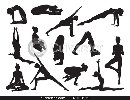 Yoga pose women silhouettes stock vector clipart, Very detailed detailed high quality yoga woman silhouettes by Christos Georghiou