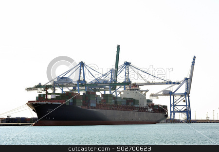 carry containers to quay stock photo, carry containers to quay in the wearing of Fos-sur-Mer beside Marseille to charge its cargo. by Paire