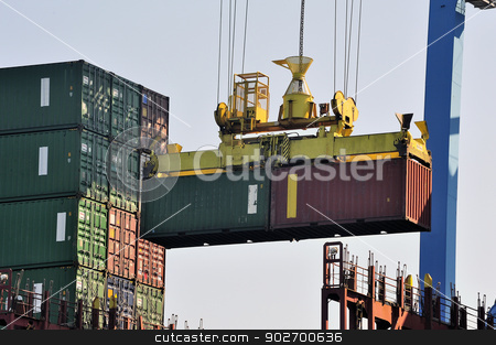Storage of a container on the cargo liner stock photo, Storage of a container on the cargo liner by Paire