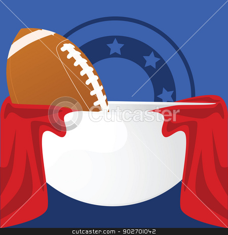 Football bowl stock vector clipart, Illustration of an American football inside a crystal bowl with red fabric around it and a blue background by Bruno Marsiaj