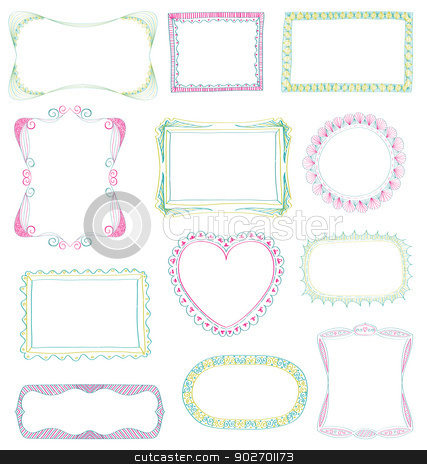 Hand drawn frames set  stock vector clipart, Hand drawn frames set with different ornaments by wingedcats