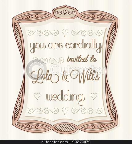 Wedding Invitation stock vector clipart, Vintage hand drawn wedding invitation. by wingedcats