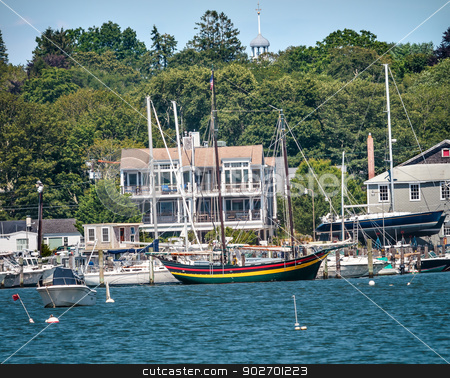 Padnaram Harbor with Boats Schooner Piers Church Steeple Massach stock photo, Padnaram Harbor Congregational Church Steeple, Docks, Piers Boats, Schooner, Buzzards Bay Dartmouth Masschusetts     by William Perry