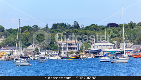 Padnaram Harbor with Boats Schooner Piers Massachusetts stock photo, Padnaram Harbor Church Steeple, Docks, Piers Boats, Schooner, Buzzards Bay Dartmouth Masschusetts     by William Perry