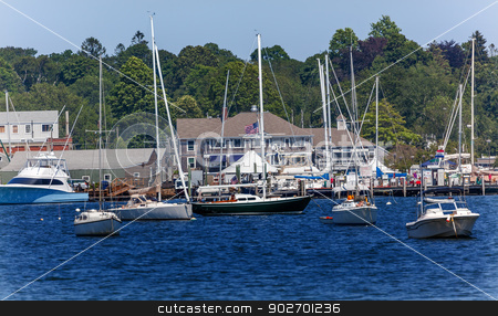 Yacht Club Padnaram Harbor with Boats Docks Piers Massachusetts stock photo, Yacht Club Padnaram Harbor Docks, Piers Boats, Buzzards Bay Dartmouth Masschusetts     by William Perry