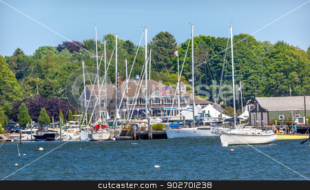 Yacht Club Padnaram Harbor with Boats Piers Dartmouth Massachuse stock photo, Yacht Club Padnaram Harbor Docks, Piers Boats, Sailboats Buzzards Bay Dartmouth Masschusetts     by William Perry