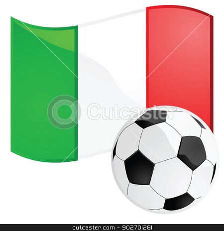 Italy soccer stock vector clipart, Illustration of a soccer ball in front of the Italian flag by Bruno Marsiaj