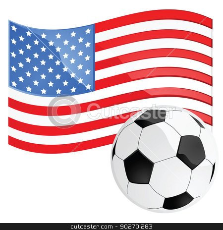 USA soccer stock vector clipart, Illustration of a soccer ball in front of the American flag by Bruno Marsiaj