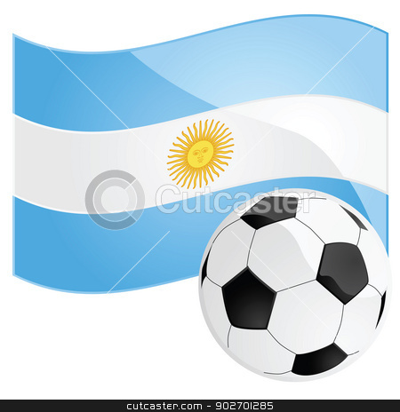Argentina soccer stock vector clipart, Illustration of a soccer ball in front of the Argentine flag by Bruno Marsiaj