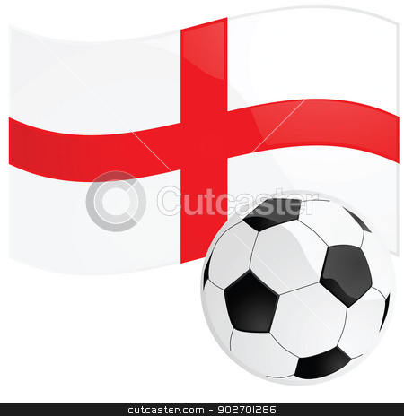 English soccer stock vector clipart, Illustration of a soccer ball in front of the English flag by Bruno Marsiaj