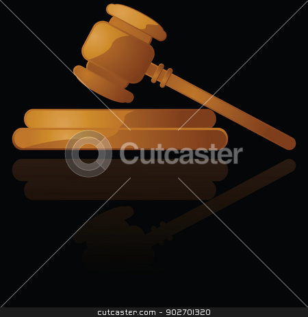 Gavel  stock vector clipart, Glossy illustration of a wooden gavel reflected over a black surface by Bruno Marsiaj