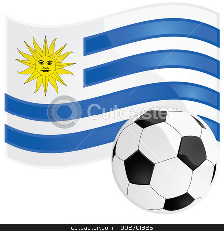 Uruguay soccer stock vector clipart, Illustration of a soccer ball in front of the Uruguayan flag by Bruno Marsiaj