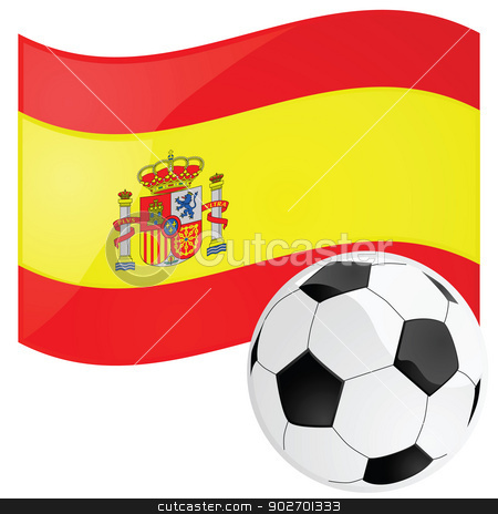 Spain soccer stock vector clipart, Illustration of a soccer ball in front of the Spanish flag by Bruno Marsiaj